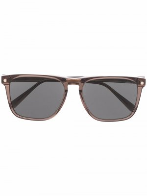 Солнцезащитные очки трапециевидной формы Brioni. Цвет: коричневый
