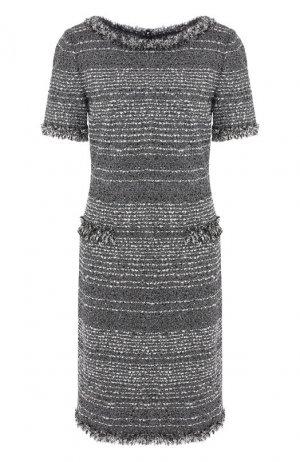 Твидовое платье St. John. Цвет: темно-серый