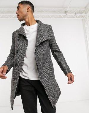 Асимметричное пальто в ёлочку с воротником-стойкой -Серый Religion