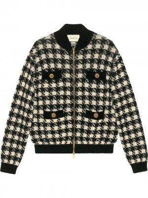 Куртка-бомбер в ломаную клетку Gucci. Цвет: черный