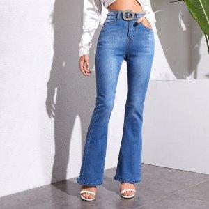 Расклешенные джинсы без пояса SHEIN. Цвет: синий