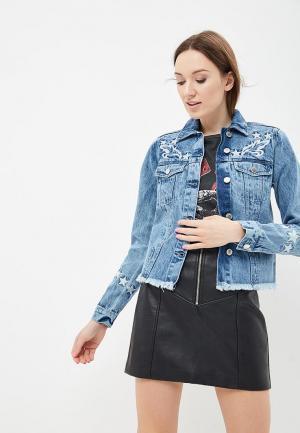 Куртка джинсовая Miss Selfridge MI035EWBJDZ9. Цвет: синий