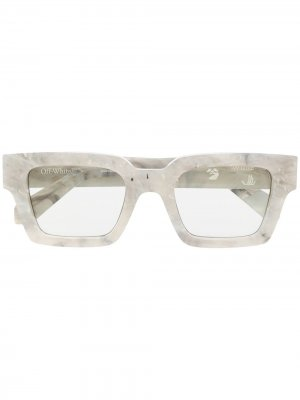 Солнцезащитные очки в квадратной оправе с логотипом Off-White. Цвет: серый