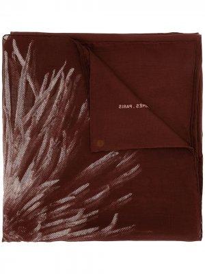 Платок pre-owned с цветочным принтом Hermès. Цвет: красный