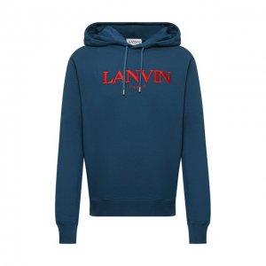 Хлопковое худи Lanvin. Цвет: синий