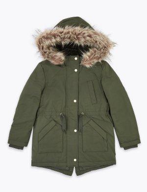 Детская парка с капюшоном и отделкой Stormwear ™ Marks & Spencer. Цвет: светлый зеленый