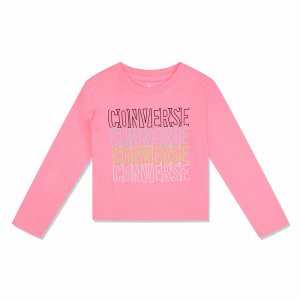 Outlined Repeat Long Sleeve Tee Converse. Цвет: розовый