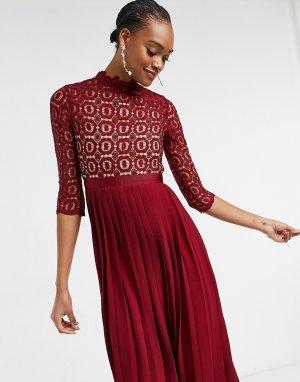 Темно-бордовое платье «2 в 1» из ажурного вязаного кружева с плиссированной юбкой -Красный Little Mistress