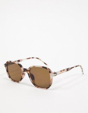 Солнцезащитные очки в квадратной оправе черепаховой расцветки -Коричневый цвет Topman