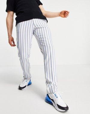 Классические брюки узкого кроя из мягкой ткани в голубую полоску с поясом стиле джоггеров -Голубой ASOS DESIGN