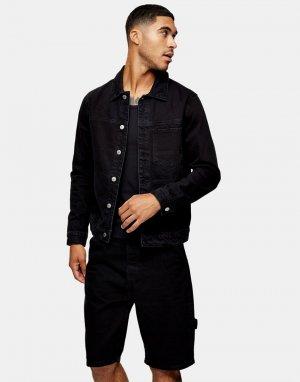 Черная выбеленная джинсовая куртка Considered-Черный цвет Topman
