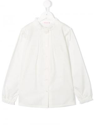 Рубашка с плиссированным нагрудником Miki House. Цвет: белый