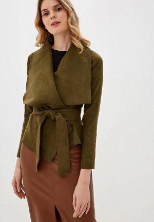 Куртка кожаная Ruxara. Цвет: хаки