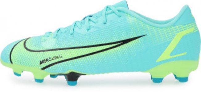 Бутсы для мальчиков Jr Vapor 14 Academy FG/MG, размер 34 Nike. Цвет: голубой