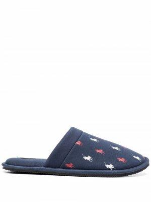 Слиперы с вышитым логотипом Polo Ralph Lauren. Цвет: синий