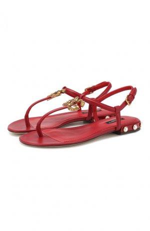 Кожаные сандалии DG Amore Dolce & Gabbana. Цвет: красный