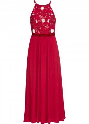 Платье макси с вышивкой bonprix. Цвет: красный