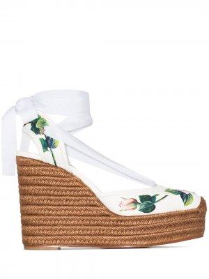 Эспадрильи с цветочным принтом Dolce & Gabbana. Цвет: белый