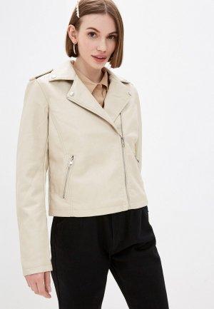 Куртка кожаная Zolla. Цвет: бежевый