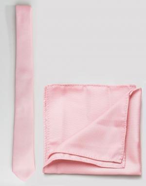 Бледно-розовый галстук и платок для нагрудного кармана ASOS DESIGN. Цвет: розовый