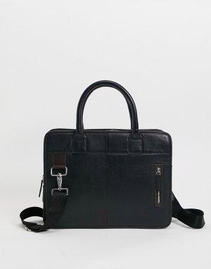 Черно-коричневый кожаный портфель -Черный цвет ASOS DESIGN