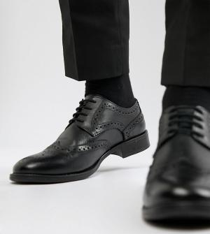 Черные кожаные броги для широкой стопы Frank Wright. Цвет: черный