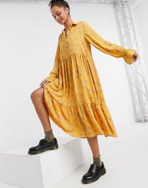 Желтое свободное платье миди из переработанных материалов Parly-Желтый Monki