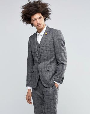 Пиджак из премиум-шерсти в клетку Heritage Gianni Feraud. Цвет: серый
