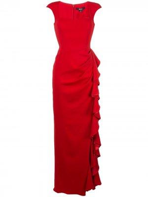 Платье асимметричного кроя с оборками Badgley Mischka. Цвет: красный