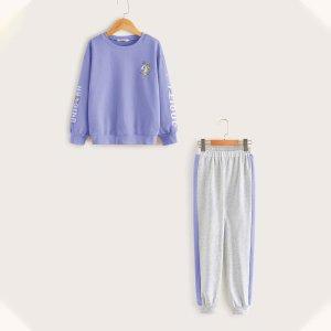 Пуловер с принтом единорога и джоггеры полосками для девочек SHEIN. Цвет: многоцветный