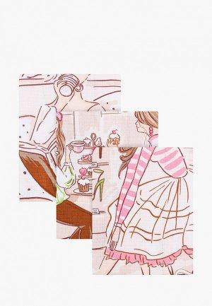 Набор полотенец кухонных La Peonia 48х60 см. Цвет: розовый
