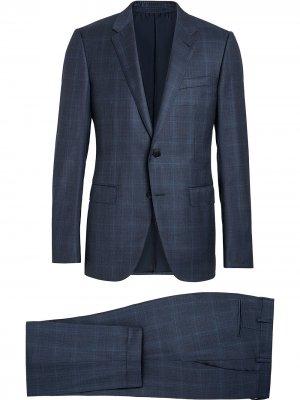 Костюм-двойка с однобортным пиджаком Ermenegildo Zegna. Цвет: синий