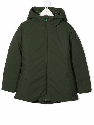 Пальто на молнии с капюшоном Save The Duck Kids. Цвет: зеленый