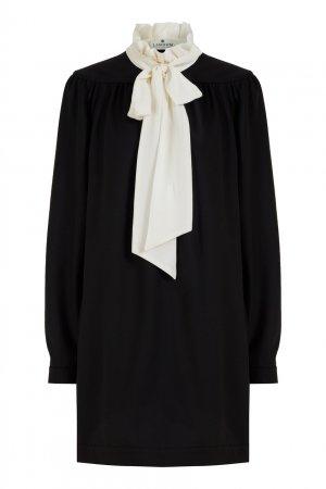 Черное платье-мини с контрастным воротником LAROOM. Цвет: черно-белый
