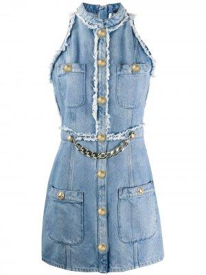 Джинсовое платье без рукавов с цепочкой Balmain. Цвет: синий