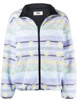 Colour-block zipped jacket MSGM. Цвет: синий
