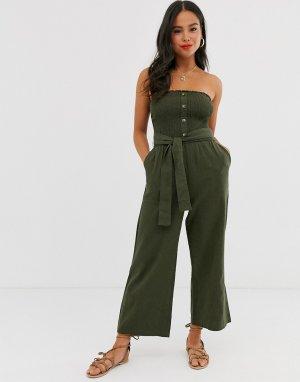 Комбинезон бандо с широкими штанинами и поясом Abercrombie & Fitch. Цвет: зеленый