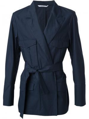 Куртка-блейзер с поясом Umit Benan. Цвет: синий