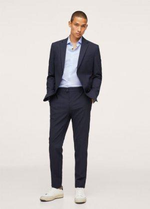 Костюмная рубашка slim fit в мелкую полоску - Luisiana Mango. Цвет: синий