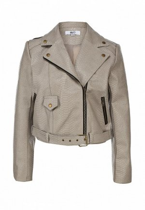 Куртка кожаная MISSGUIDED MI033EWBOU69. Цвет: бежевый