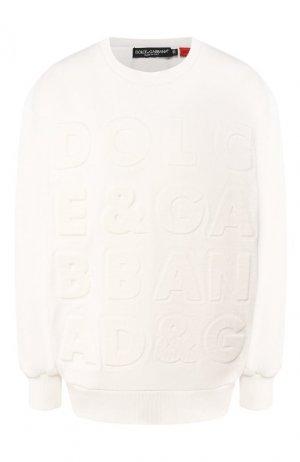 Хлопковый свитшот Dolce & Gabbana. Цвет: белый