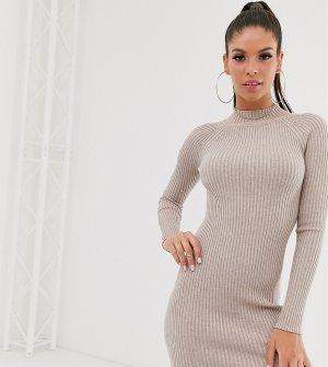 Вязаное платье мини в рубчик с рукавами реглан ASOS DESIGN Tall-Светло-бежевый Tall