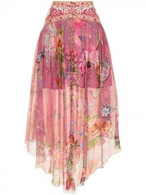 Юбка миди с цветочным принтом Camilla. Цвет: розовый