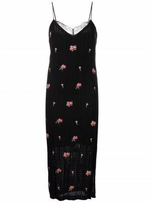 Платье вязки интарсия с цветочным узором RED Valentino. Цвет: черный
