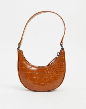 Коричневая маленькая сумка на плечо с эффектом крокодиловой кожи -Коричневый Monki