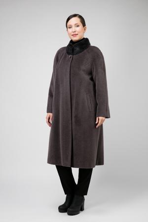 Длинное женское пальто из альпака для большого размера Leoni Bourget. Цвет: графит