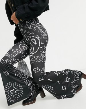 Расклешенные брюки с принтом банданы, от комплекта-Черный Rokoko