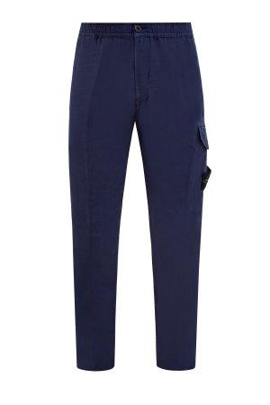 Легкие брюки из льняной ткани Fissato с карманами в стиле карго STONE ISLAND. Цвет: синий