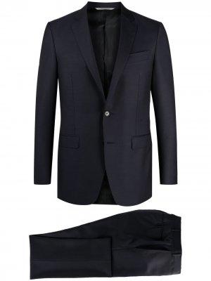 Костюм-двойка с однобортным пиджаком Canali. Цвет: синий