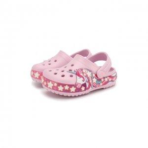 Сабо FL Unicorn Crocs. Цвет: розовый
